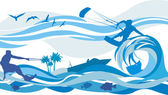 Water sports - kite surfing, water skiing, jet — Stock Vector