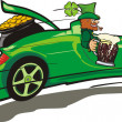 Leprechaun, convertible and a treasure — Stock Vector