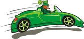 Happy st. patrick`s day - speedy leprechaun — Stock Vector