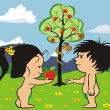 Stock Vector: Garden of eden - adam and eve