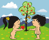 Garden of eden - adam and eve — Stock Vector