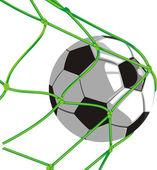 Ball in the net - football — Stockvector