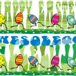 Stock Vector: Easter running eggs