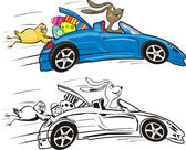 Easter bunny and his car - happy easter — Stock Vector