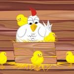 Hen and her chicken — Stock Vector #8562376
