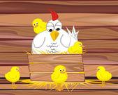 Hen and her chicken — Stock Vector