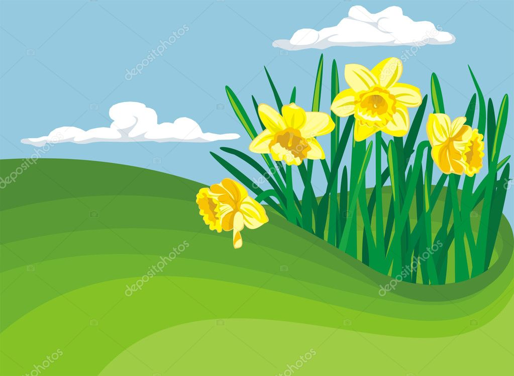 Early spring blooming flower - spring background — Stock Vector #8634670