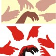 Racism - human hands — Stock Vector