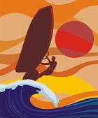 På våg - vindsurfing — Stockvektor