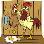 Постер, плакат: In the hen house arguing