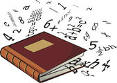 School textbook - numbers and mathematical formulas — Vettoriale Stock
