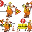 Road worker - under construction - Stock Vector