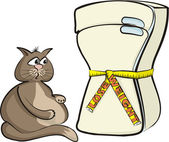 Lose weight - cat glutton — Stock Vector