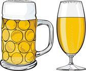 Beer mug and glass — Stock Vector