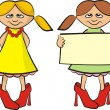 Little fashionistas with banner — Stock Vector #9819948