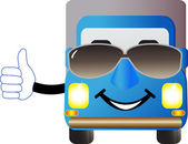 Truck with sunglasses and showing thumb up — Stock Vector
