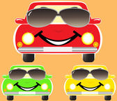 Cute smile cars in sunglasses — Stock Vector