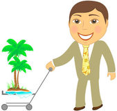 Man with shopping cart and tropical island — Stock Vector