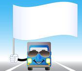 Camion con bandiera sull'autostrada — Vettoriale Stock