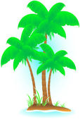 Isolated tropical island with palm — Stock Vector