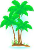 Na białym tle tropikalnej wyspie z palmy — Wektor stockowy
