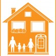 Royalty-Free Stock Vector Image: Icon with family and house