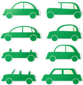 Set green isolated cars with shadow — Stock Vector