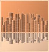 городской пейзаж небоскреб с отражением — Cтоковый вектор
