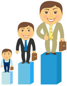 Cartoon rich, middle class and poor men — Stock Vector