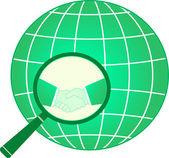 Signe financier international avec la poignée de main et de la planète — Vecteur