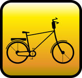 Glossy icon with bicycle — Stock Vector