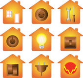 Set of electrical equipment on house silhouette — Stock Vector