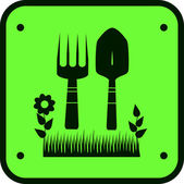 Ogród znak z trawy, kwiatów i narzędzia pracy ziemi — Wektor stockowy
