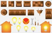 Instellen van geïsoleerde objecten van elektrische apparatuur — Stockvector