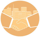 Icon with handshake and urban landscape — Stock Vector