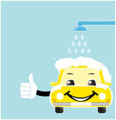 Smile cartoon car in car wash — Stock Vector
