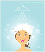 Girl washing hair under shower — Stock Vector