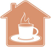 House silhouette and cup with hot beverage — Stock Vector
