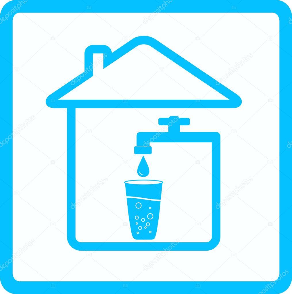用自来水, 玻璃和放水的蓝色图标— 矢量图片作者 kelttt