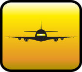 Glossy icon with plane — Stock Vector