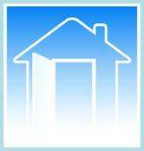 Современный дом силуэт с открытой дверью — Cтоковый вектор