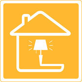Icon with lamp and house — Stock Vector