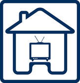 Icône avec la silhouette de maison et de la télévision — Vecteur