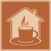 Hot cup and house silhouette — Stock Vector