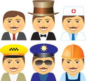 Set smiling mens different professions — Stock Vector