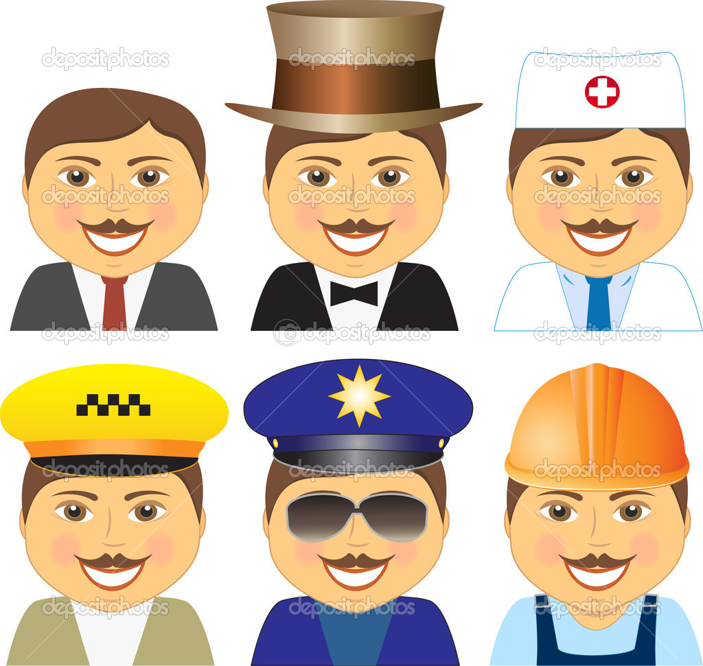 Set smiling mens different professions stock illustration
