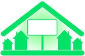 υπογράψει με οικολογικό σπίτι και χώρο για κείμενο — Stockvektor