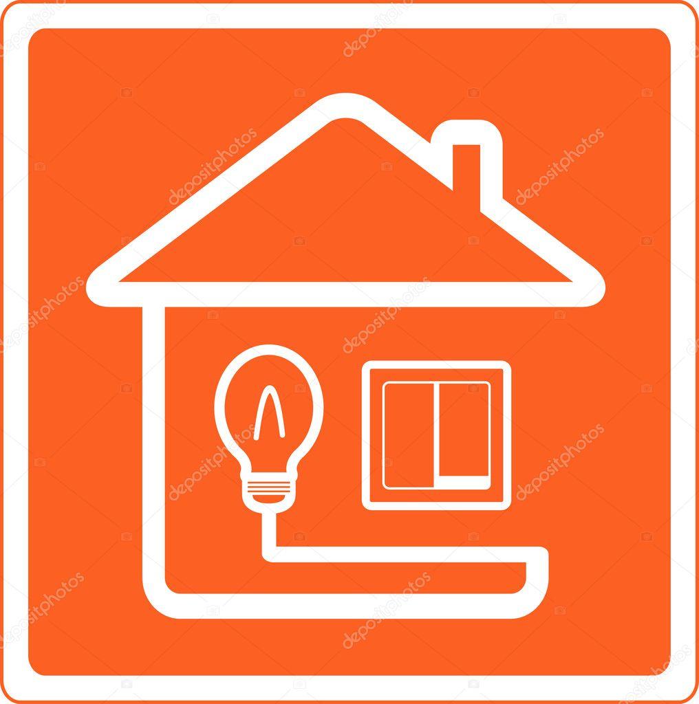 Symbole de l 39 lectricit dans la maison avec la lumi re passer image ve - Electricite dans la maison ...