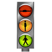 Funny traffic lights with man silhouette — Stock Vector