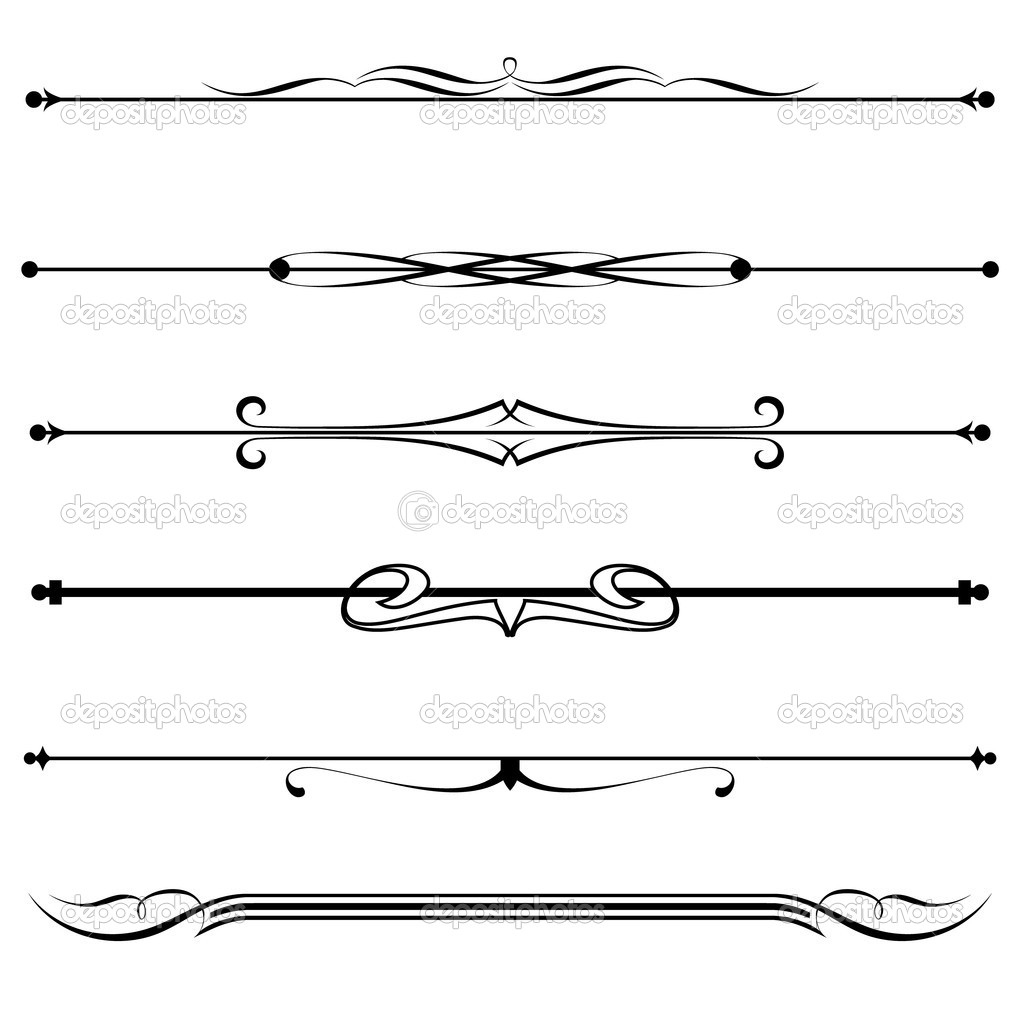 Vector set of decorative divider, elements, border — Stock Vector #8099958